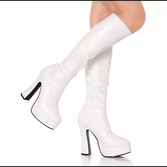 4a4cbb025 Pleaser Shoes | White Platform Boots Size 7 | Poshmark